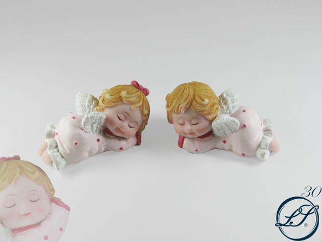 Bomboniera per battesimo: angelo in resina rosa
